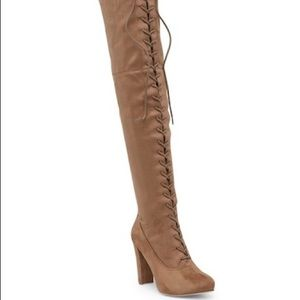 Taupe faux suede thigh high lace up boots
